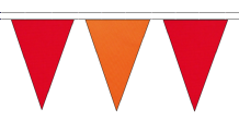 RED AND ORANGE TRIANGULAR BUNTING - 10m / 20m / 50m LENGTHS